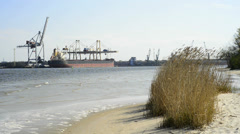 Swinoujscie, Poland, view to the shipyards Stock Footage