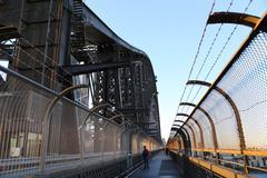 The walkway on harbor bridge Stock Photos