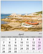 calendar april 2014. boats in galicia, spain. - stock illustration