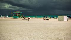 Miami South Beach Stormy Skies Stock Photos