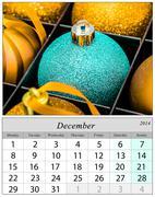 Calendar december 2014. chritsmas ornaments. Stock Illustration