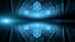 Blue cubic geometrical horizon  with rays of light, animation, loopable Stock Footage