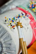 bobbin lace, traditional handicrafts - stock photo