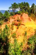 Ochre cliffs near roussillon, provence, france Stock Photos