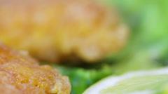 Roasted Fish roe on leaves of lettuce Stock Footage