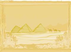 old paper with pyramids giza - stock illustration