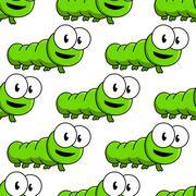 Seamless pattern of cartoon green caterpillars Stock Illustration