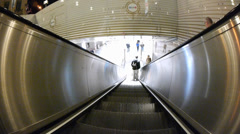 Time Lapse Escalator down to Subway Metro station Munich Germany Europe Stock Footage