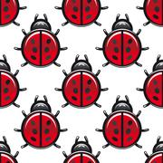 seamless pattern of a red spotted ladybug - stock illustration