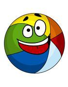 Colorful laughing cartoon beach ball Piirros