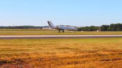 Airplane on Runway Stock Footage