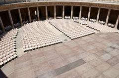 palace charles v, alhambra, granada, andalusia, spain - stock photo