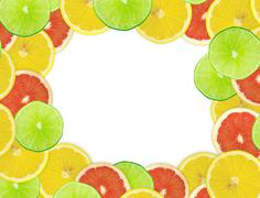 Abstract background of citrus slices. Closeup. Studio photograph Stock Illustration