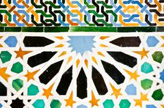 ceramic tile in alhambra, granada, spain - stock photo