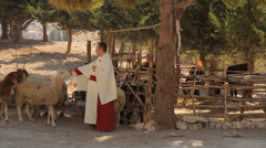 Shepherd in Nazareth Village Museum Stock Footage
