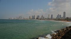 Tel Aviv and Seaside of The Mediterranean Sea Stock Footage