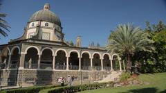 Roman Catholic chapel at Mount of Beatitudes Stock Footage