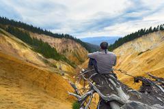 tourist looking away, ruginoasa - dry valley. romania - stock photo