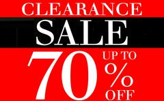 Clearance sale up to 70 percents promotion label - stock illustration