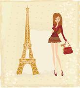 Stock Illustration of beautiful fashion women shopping in paris - vector card