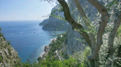 Seaside cliffs of Monte Castiglione in Capri Italy - 25FPS PAL Stock Footage