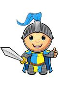 Blue and Yellow Knight charcater - stock illustration