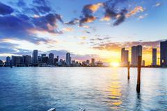 Miami city by night Stock Photos