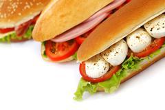 Sandwich with mozzarella tomato and salad Stock Photos