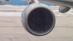 Turbofan engine on Airbus 380 - stock footage