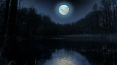 Moon over the lake at night. Stock Footage