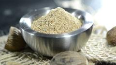 fresh grated nutmeg (loopable video) - stock footage