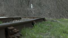 Railway tracks beside Transcanada trail Stock Footage