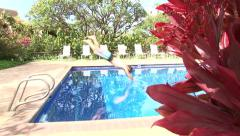 Tropical Poolside Diver Stock Footage