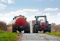 Tractors blocking road Stock Photos