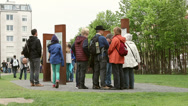 Stock Video Footage of Tourists at Berlin Wall Memorial