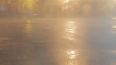 Rain and wind on city street during a typhoon Stock Footage