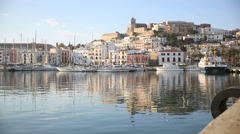 town of ibiza at sunrise - stock footage