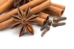 Cloves, anise and cinnamon Stock Photos