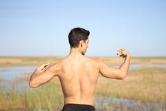 Male bodybuilder model back view. Stock Photos