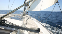 Sailboat sailing on the mediterranean sea Stock Footage