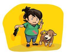 girl teaching a dog - stock illustration