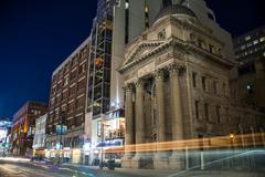 Yonge Street Historic Building at Night Stock Photos