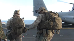 Stock Video Footage of 11th MEU Marines Launch Vertical Assualt Mission