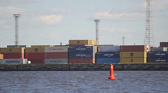 Container depot in Riga port Stock Footage