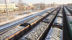 Coal Train in Snow Stock Footage