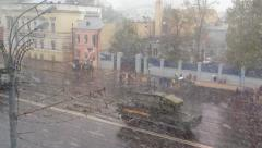 Military War Tanks ride Moscow street in Snowstorm Stock Footage