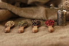 Pepper Blend spices small spoon on top sackcloth - stock photo