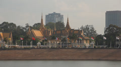 Phnom Penh Royal Palace seen from Tonle Sap Riverfront Stock Footage