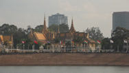 Stock Video Footage of Phnom Penh Royal Palace seen from Tonle Sap Riverfront