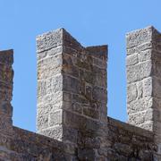 wall detail of medieval fortress. san marino - stock photo